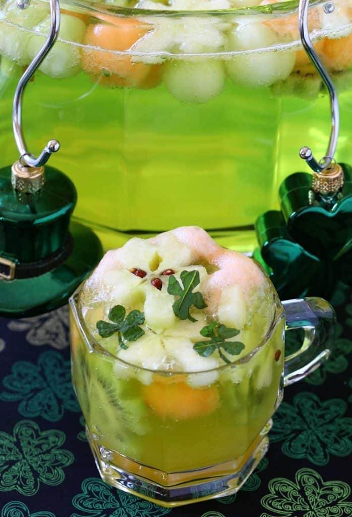 Boozy Shamrock Party Punch is a vodka punch recipe made with 7up