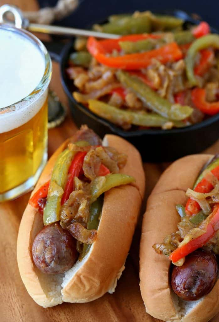 German Style Sausage and Peppers are my favorite game day dinner!