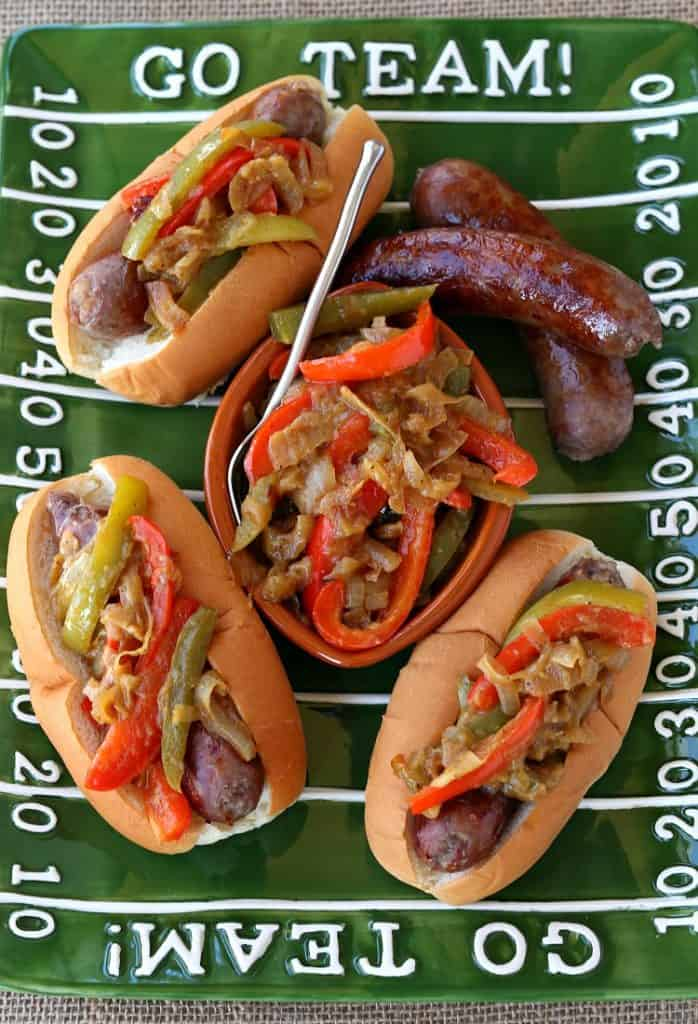 German Style Sausage and Peppers have a beer and mustard flavored topping