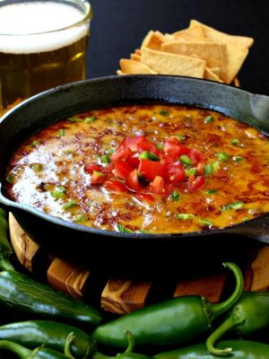 This Skillet Sausage and Beer Queso is perfect for parties!