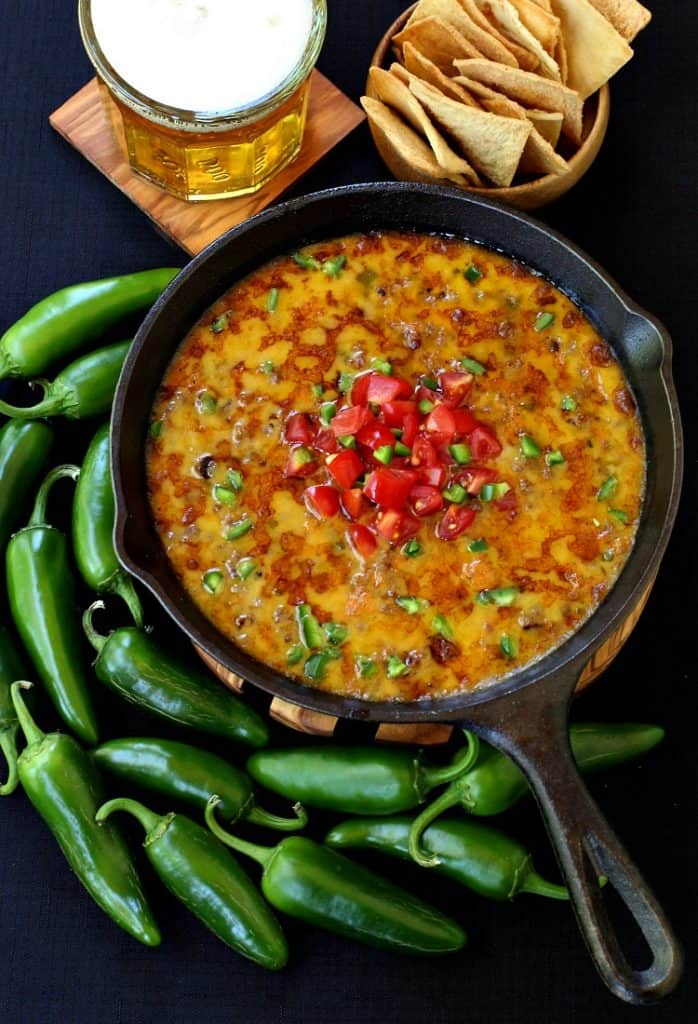 We love making this Skillet Sausage and Beer Queso for appetizers or dinner!