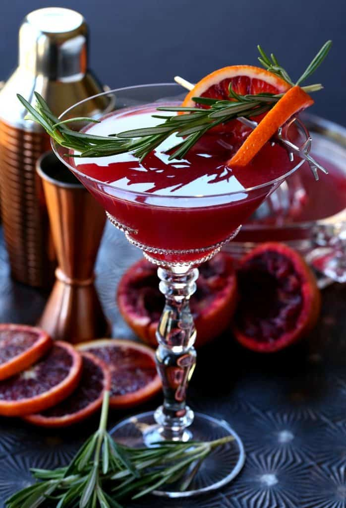 Blood Orange Rosemary Gin Martini on a tray