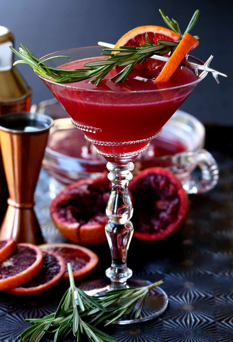 Blood Orange Rosemary Gin Martini with orange slices and shaker
