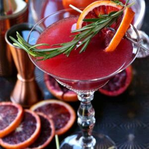 Blood Orange Rosemary Gin Martini from the top with rosemary garnish