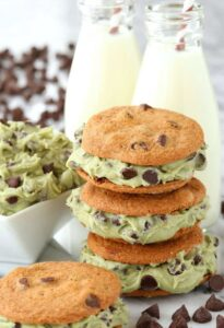 Boozy Chocolate Chip Cookie Dough Sandwiches