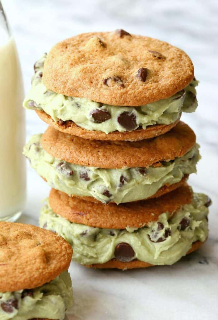 stacked cookie sandwiches with edible cookie dough filling