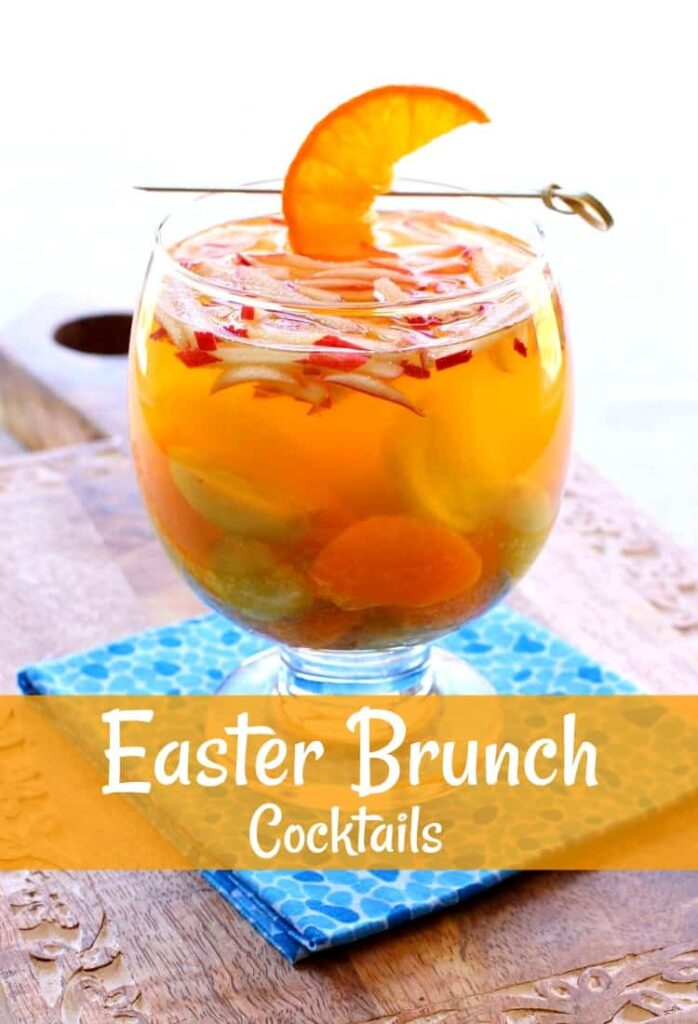 Easter Brunch Cocktails in a glass with fruit