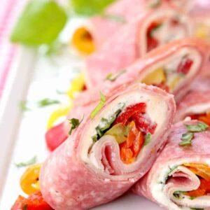 Italian Deli Roll Ups on a white plate