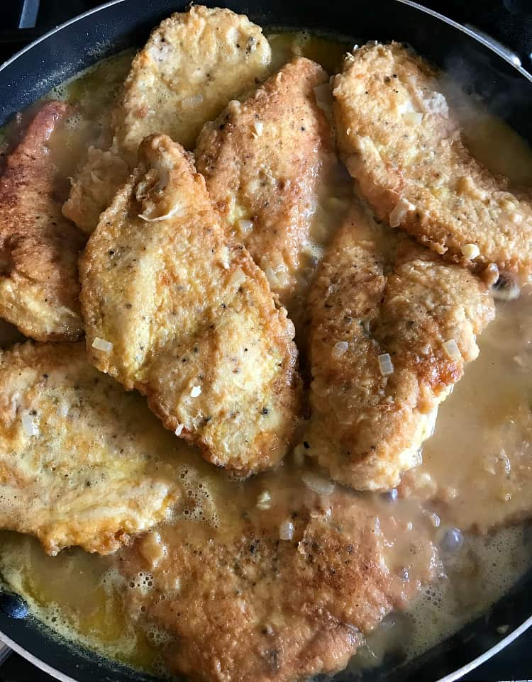 Chicken Francese in a skillet