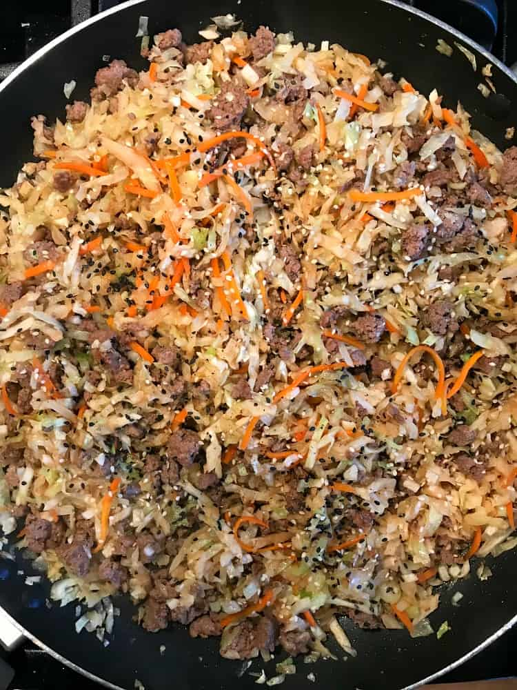 Egg Roll filling in skillet