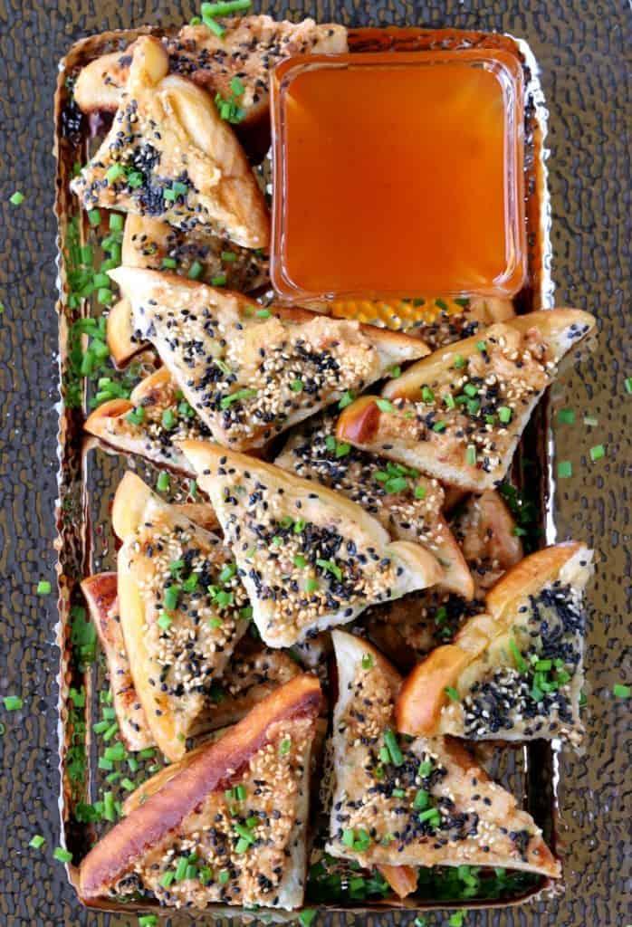 shrimp toast with bacon an a platter
