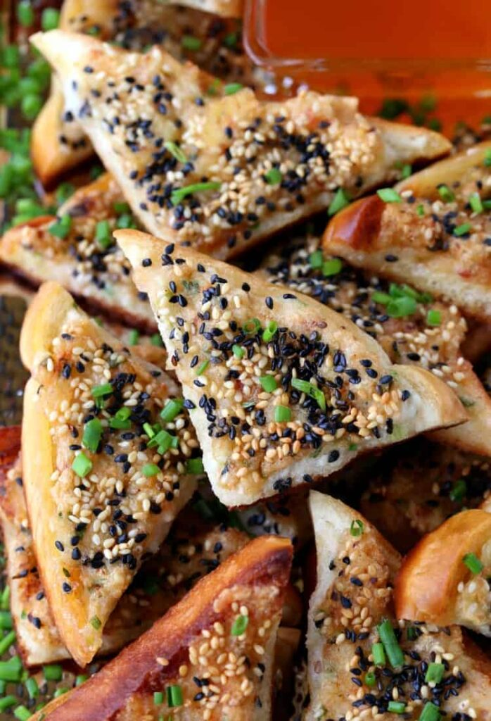 Bacon Shrimp Toast with sesame seeds and chives