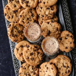 chocolate chip cookie shot recipe on a tray with cookies