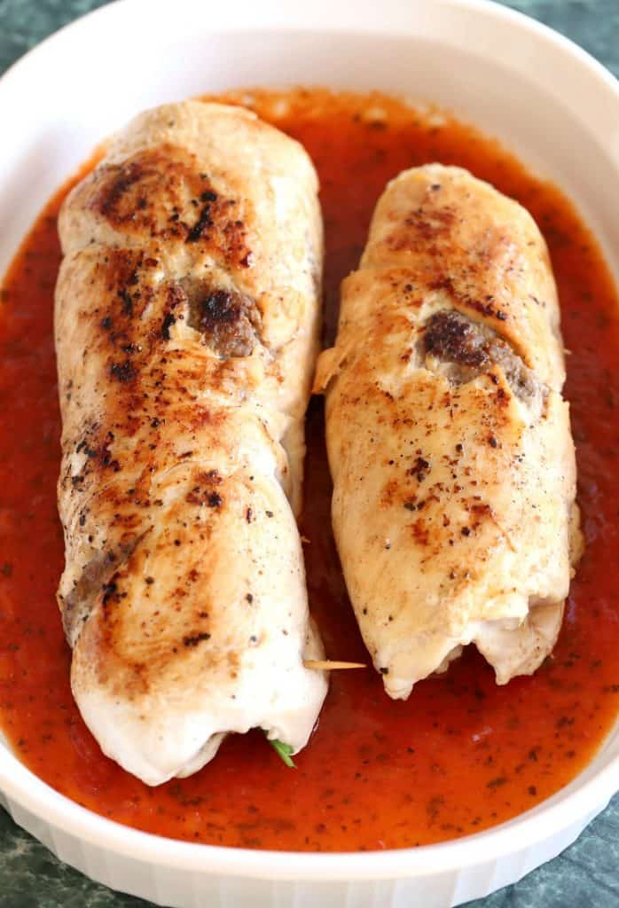 Sausage Stuffed Chicken Rollatini is a chicken recipe that's baked in the oven