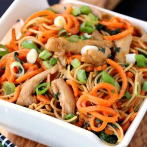 Veggie Heavy Chicken Lo Mein in a bowl