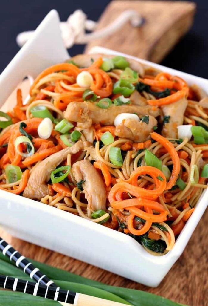 Veggie Heavy Chicken Lo Mein in a bowl