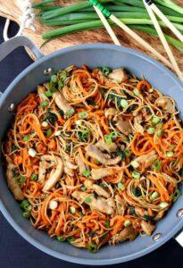 Veggie Heavy Chicken Lo Mein in a wok from the top
