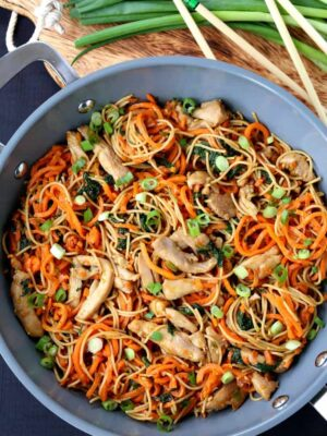 Veggie Heavy Chicken Lo Mein in a wok from the top