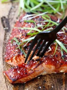 Oven Baked Asian BBQ Salmon with a fork