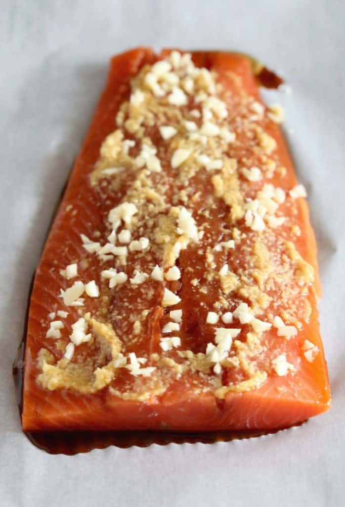 Baked Asian BBQ Salmon with a garlic and ginger marinade