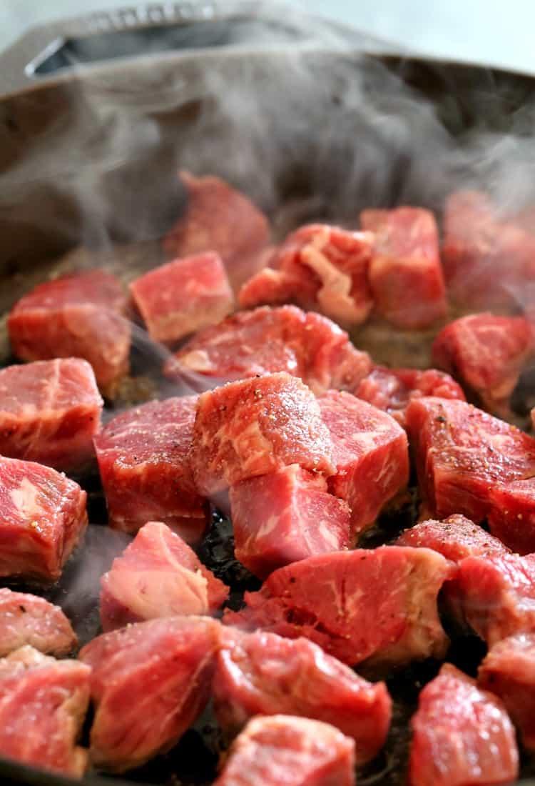 Skillet Sicilian Beef and Cauliflower, beef in skillet