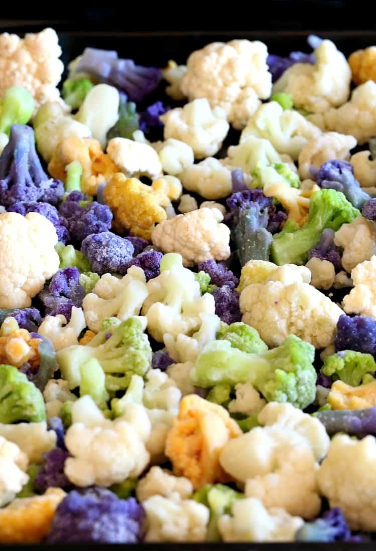 Skillet Sicilian Beef and Cauliflower, cauliflower on pan