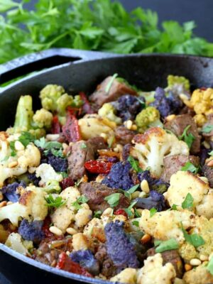 Skillet Sicilian Beef and Cauliflower with parsley