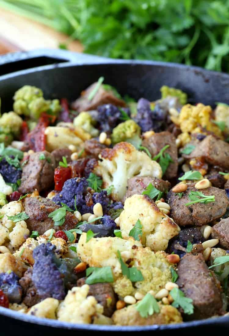 Skillet Sicilian Beef and Cauliflower in a skillet close up