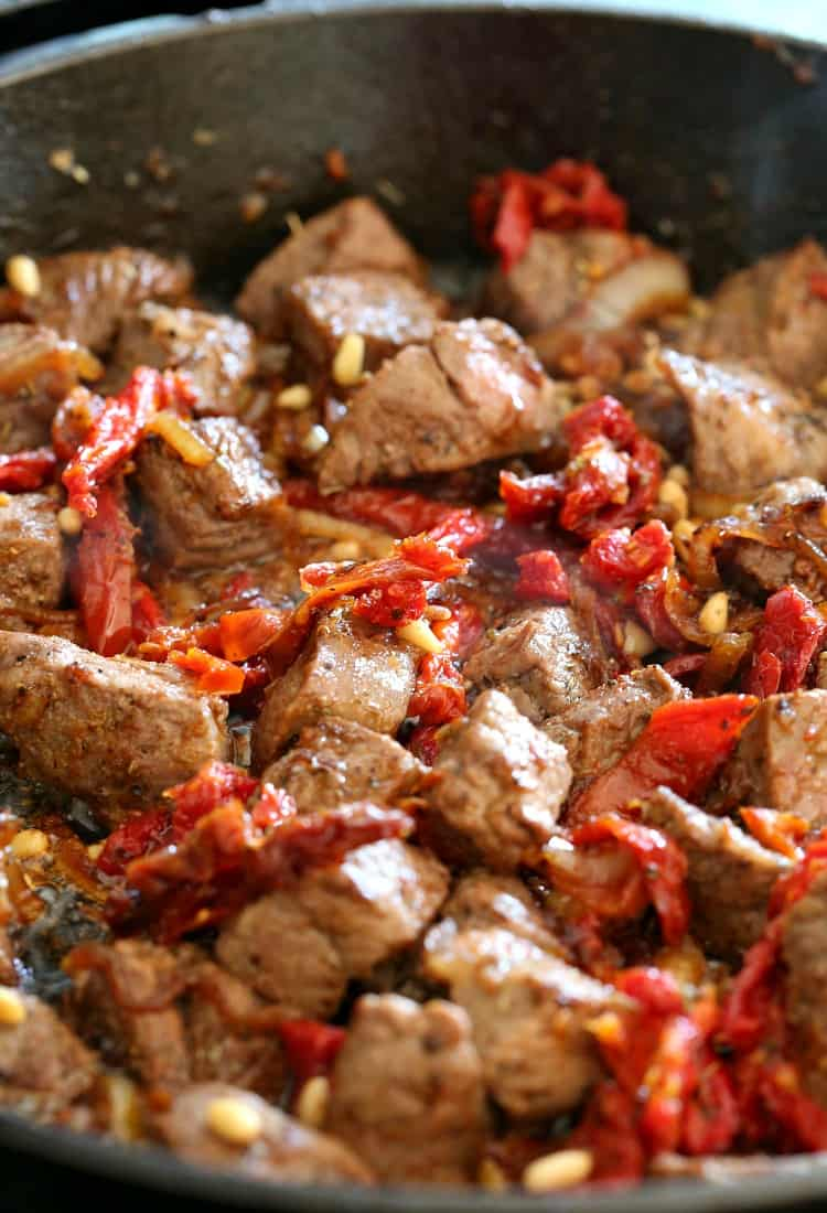 Skillet Sicilian Beef and Cauliflower cooking in skillet