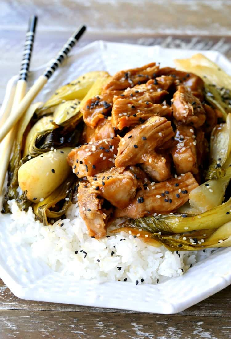Slow Cooker Nutty Asian Pork with bok choy and chop sticks