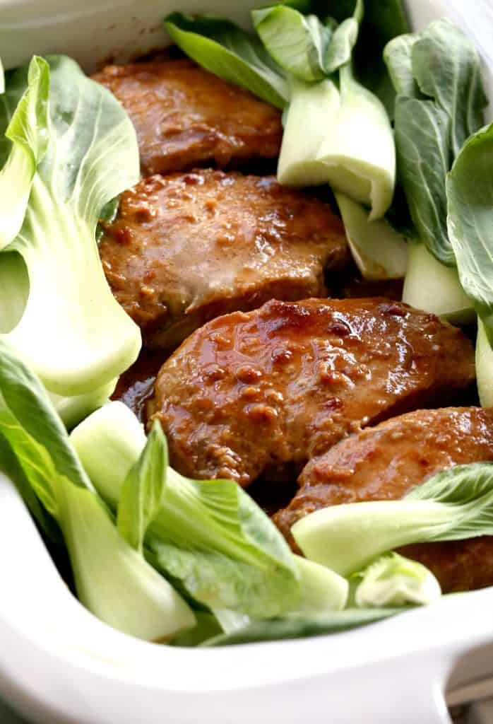 Slow Cooker Nutty Asian Pork with bok choy in the slow cooker