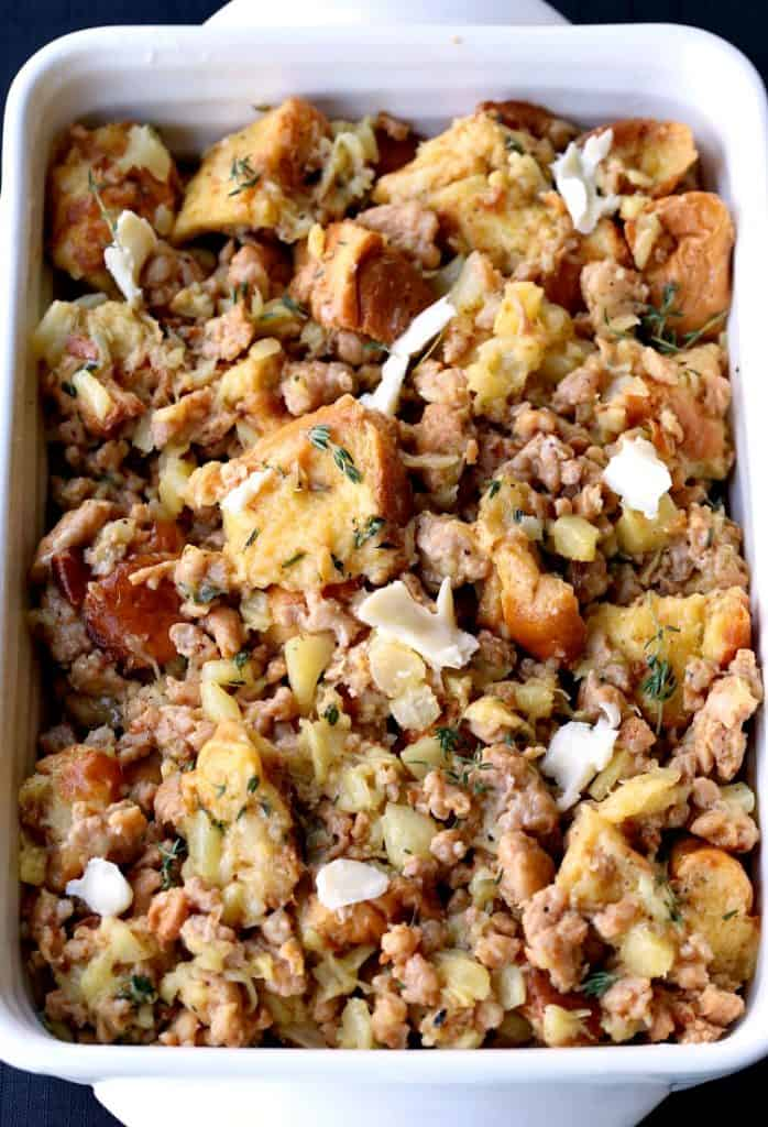 Pineapple Upside Down Sausage Stuffing is a sausage stuffing recipe baked with pineapple