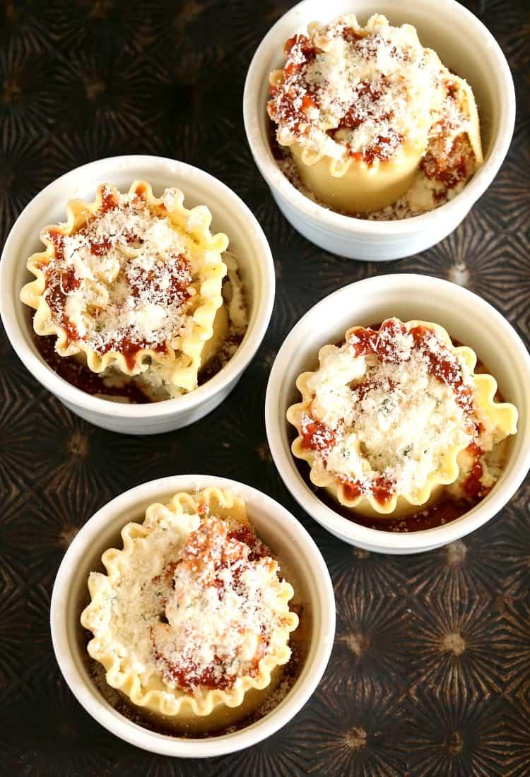 lasagna in ramekins for individual servings