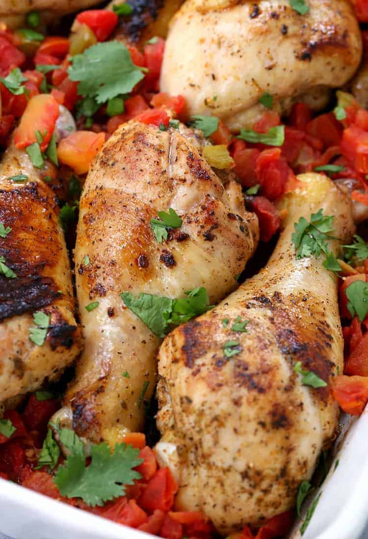 Baked Fiesta Chicken Legs with tomatoes