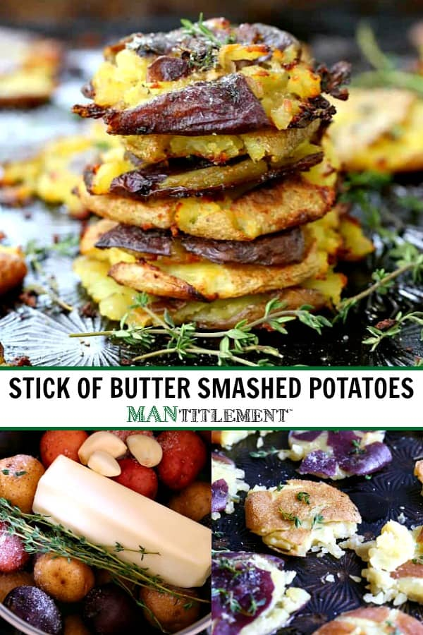 crispy potatoes stacked on a sheet pan with fresh thyme