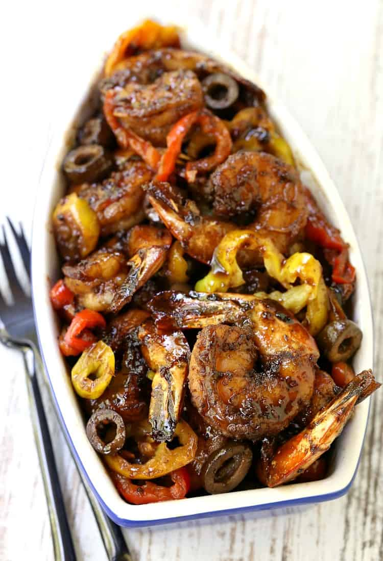 Sweet and Spicy Balsamic Glazed Shrimp in a dish from the top