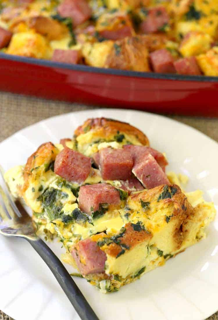Taylor Ham Egg and Cheese Casserole is an overnight casserole recipe made with taylor ham, eggs, cheese and spinach