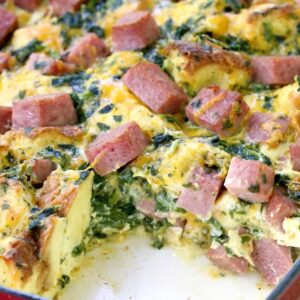 Taylor Ham Egg and Cheese Breakfast Casserole with a piece missing