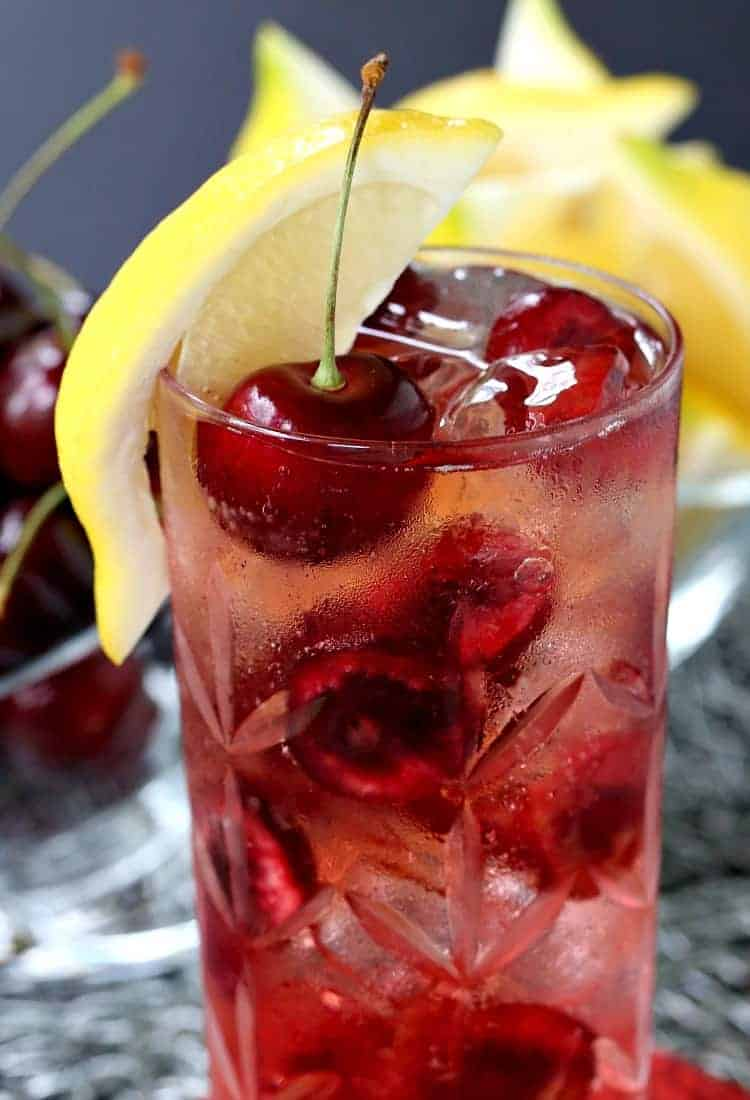 A Cherry Bomb 7 & 7 is a 7 & 7 cocktail with cherries added