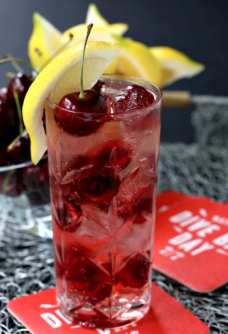 A Cherry Bomb 7 & 7 is a twist on a classic 7 & 7 with cherries added in