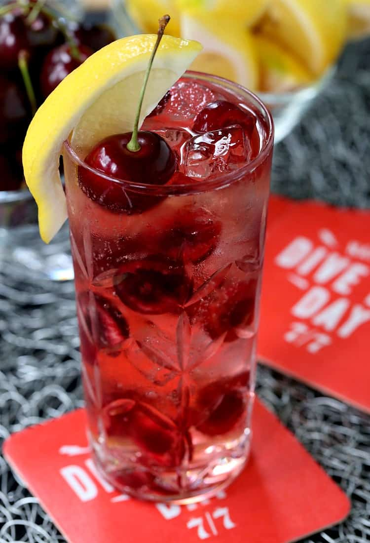 This Cherry Bomb 7 & 7 is a perfect cocktail recipe for happy hour