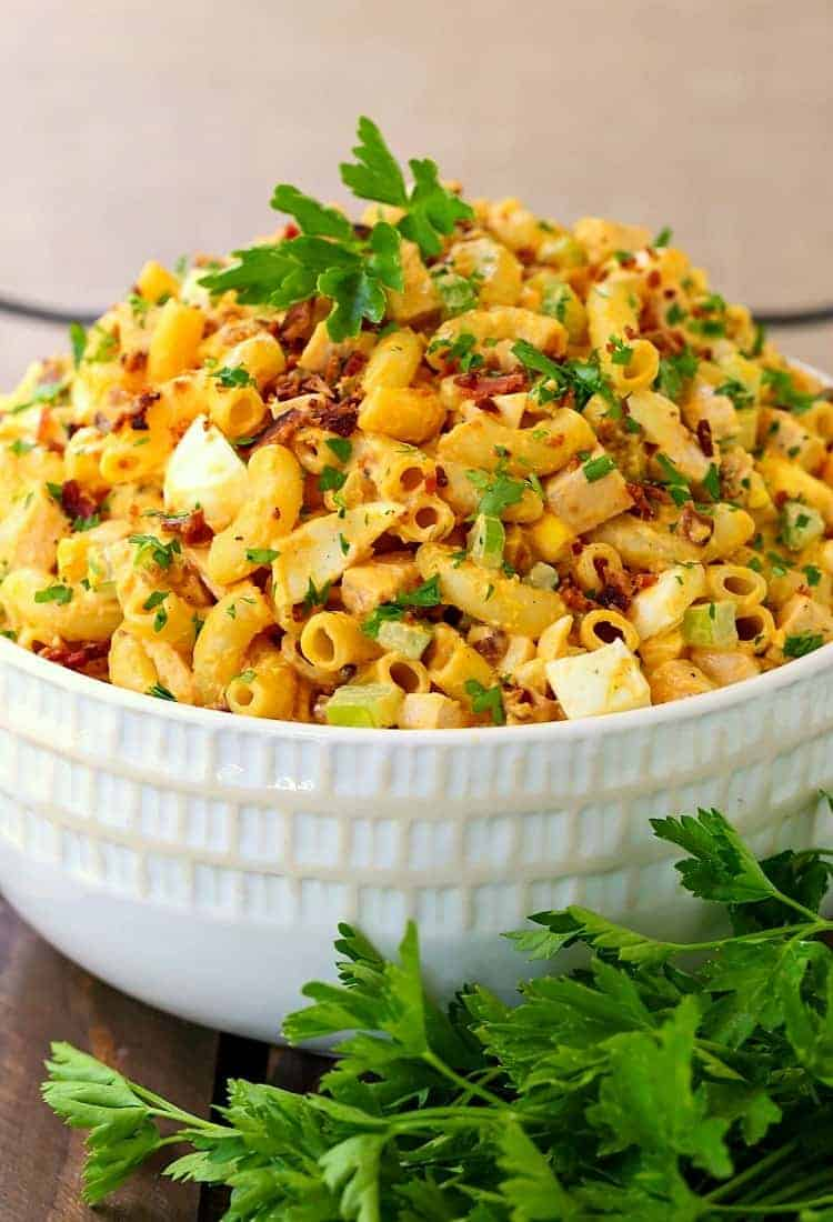 Devilish Buffalo Chicken Pasta Salad is a pasta salad recipe that can be served as the main course