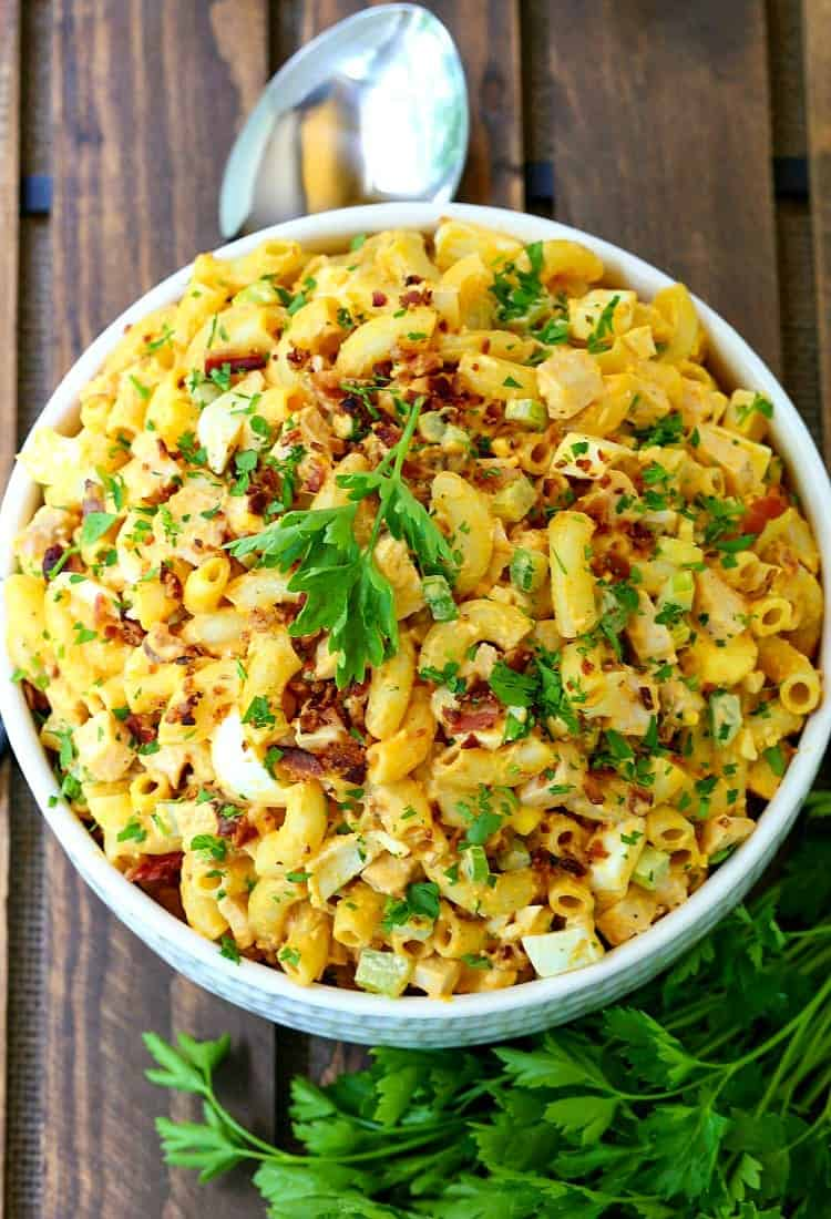 Devilish Buffalo Chicken Pasta Salad is a pasta recipe made with chicken, bacon, and eggs