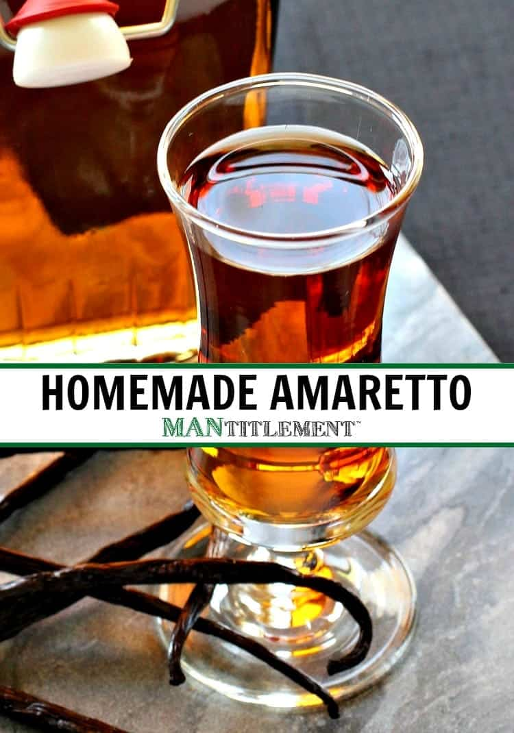 Homemade Amaretto picture with text for pinterest