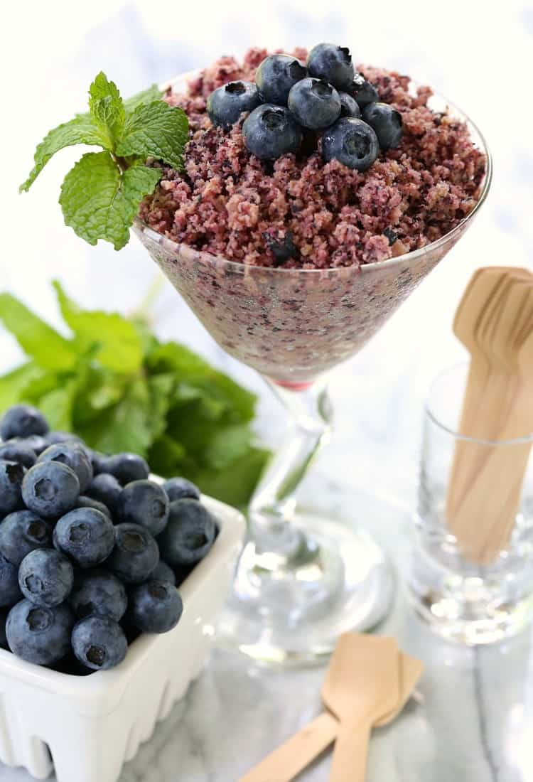 RumChata Fresh Blueberry Granita with mint and blueberries in a glass