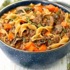 Beef Burgundy Mushroom Soup is a comfort food dinner recipe with beef and mushrooms