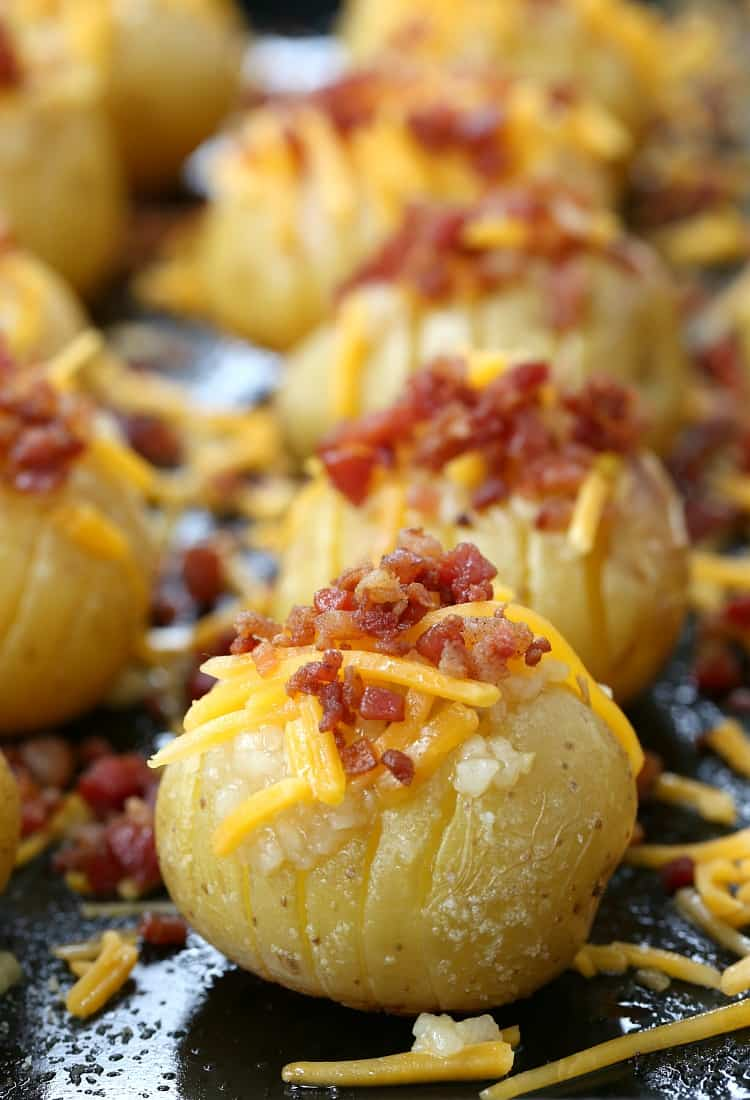 Mini Loaded Hasselback Potatoes are a side dish recipe or an appetizer recipe