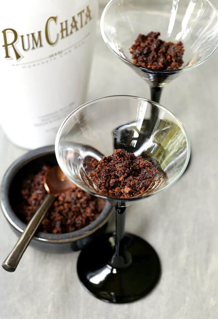 Mississippi Mud Pie Martini has a chocolate crust in the bottom of the glass, just like the pie