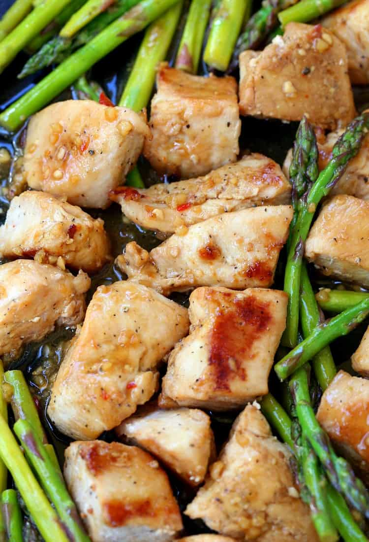sheet pan chicken and asparagus dinner
