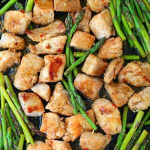 Sheet Pan Lemon Garlic Chicken and Asparagus on a sheet pan